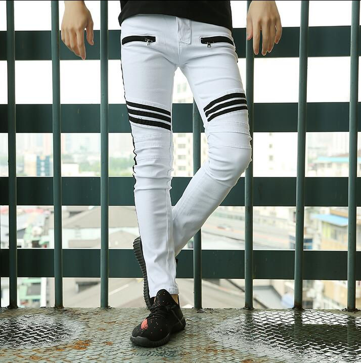 2017 spring white elastic jeans mens summer slim casual personality korean fashion splice stripe denim trousers men plus size hee grand 2017 spring summer men jeans full length business style slim fitted straight denim trousers plus size 29 40 mkn960