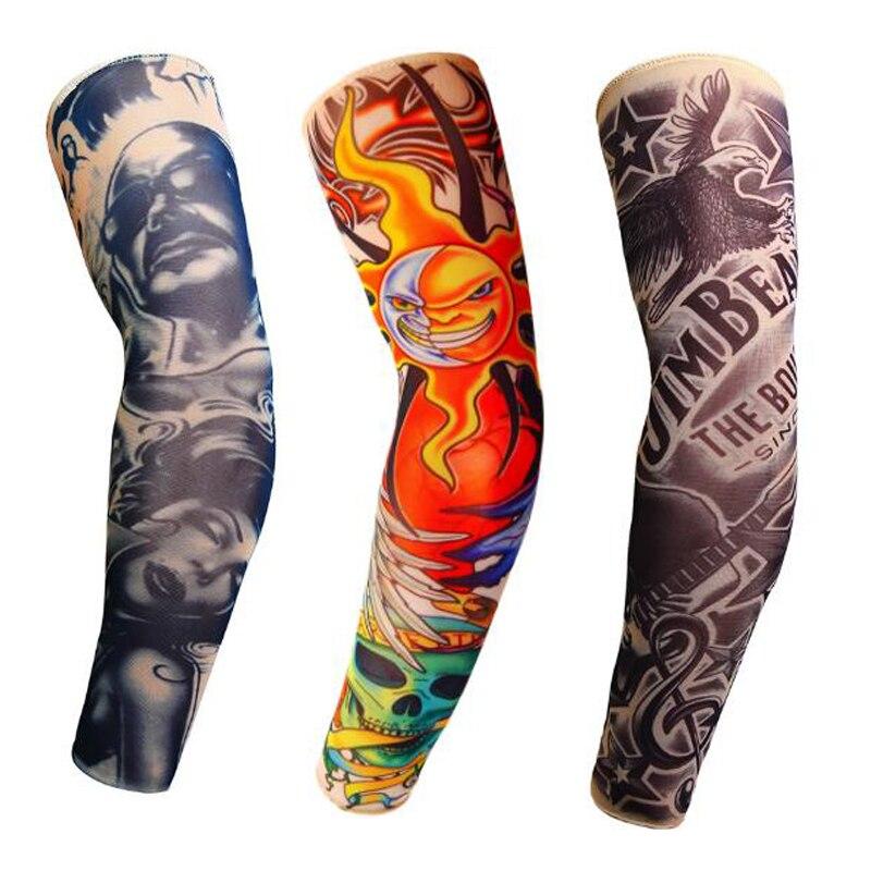 Size S,L 3D Print Arm Warmers Men Women Streetwear Fake Tattoo Sleeve Outdoor Sport Sunscreen Cooling Arm Sleeves
