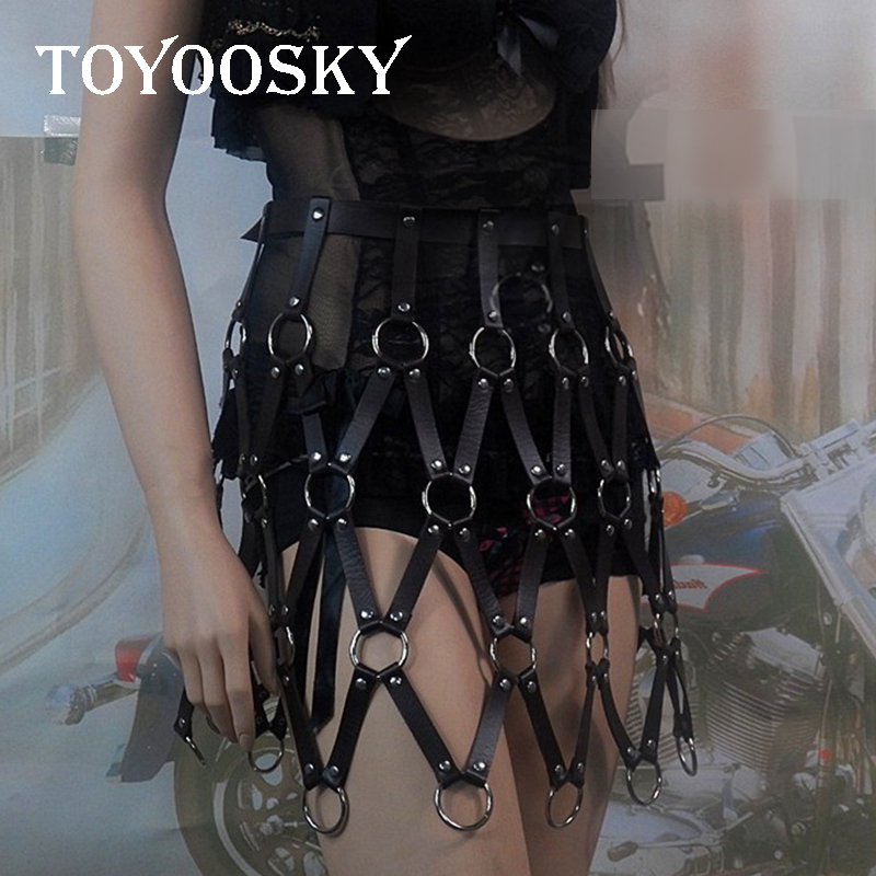 2018 Sexy Women Belt Cool Street Punk Caged Body Weave Round Plaid Shaper Leather Harness Bondage Chain Belt Dress TOYOOSKY in Women 39 s Belts from Apparel Accessories