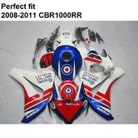 Motorcycle unpainted bodywork fairing kit for Honda white blue CBR1000RR 08 09 10 11 fairings set CBR 1000RR 2008 2011 CY58