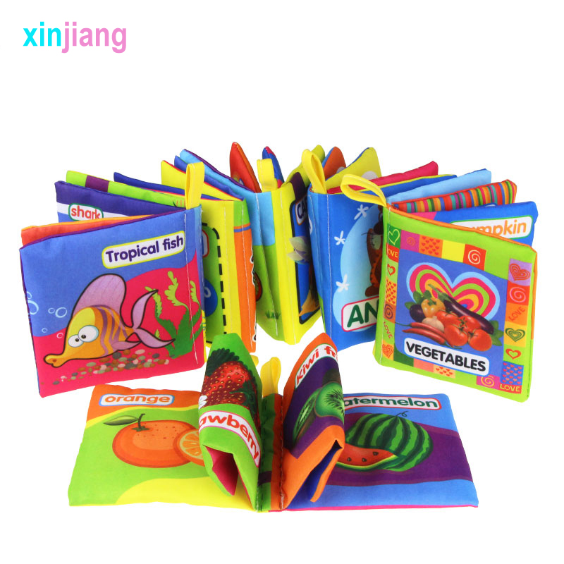 Soft Cloth Books Toddler Quiet Book Fruit Animals Vegetables Books For Kids Early Learning Educational Toys For Kids }