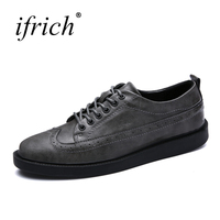 Ifrich Spring Summer Men's Leather Formal Shoes Lace Up Men Sneakers Comfortable Man Brogue Footwears Black