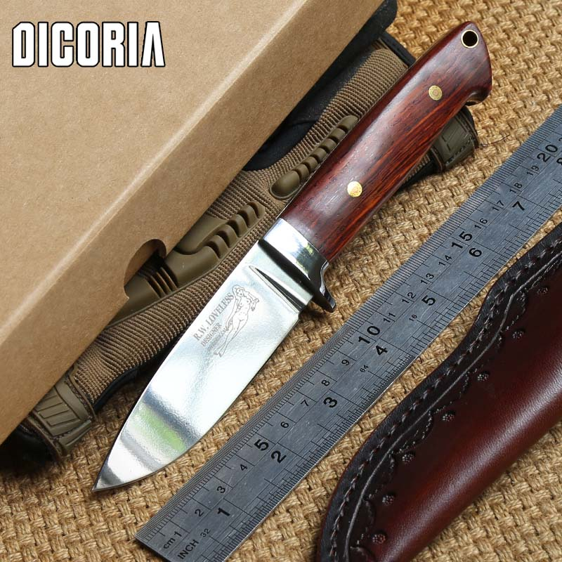 DICORIA Loveless 9cr18MOV blade wood handle fixed blade large straight knife Sheath camping hunting outdoor EDC knives tools high quality army survival knife high hardness wilderness knives essential self defense camping knife hunting outdoor tools edc