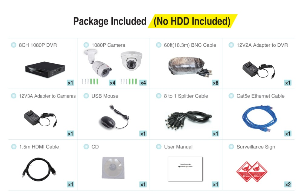 home video system D5208HH+8CAM_Package Included