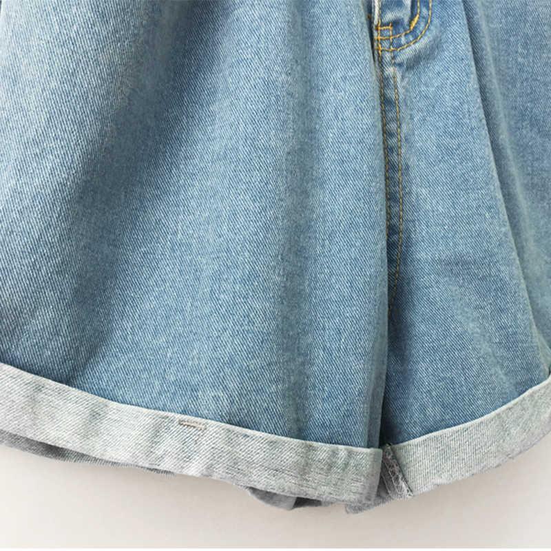 2018 Estate A Vita Alta In Denim Shorts Donne Casual Allentato Delle Signore di Modo Rotola in su Il Bordo Elastico In Vita Tasca Blu Bianco Dei Jeans femminile