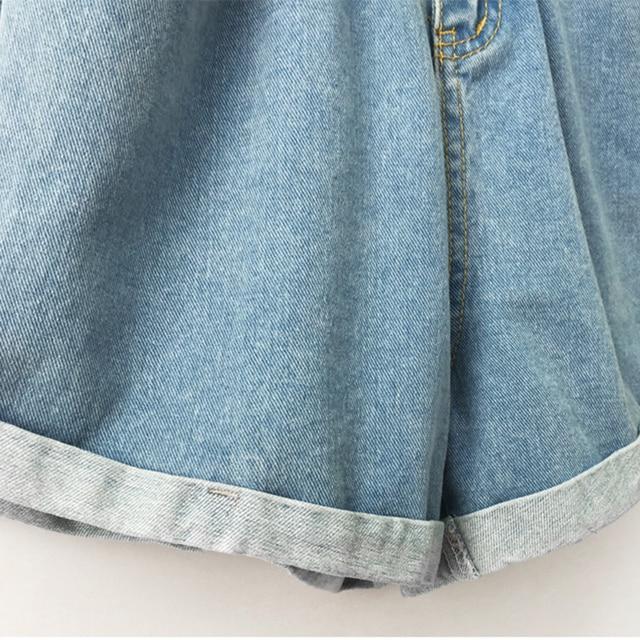 2018 Summer High Waist Denim Shorts Women Casual Loose Ladies Fashion Roll Up Hem Elastic Waist Pocket Blue White Jeans Female 4