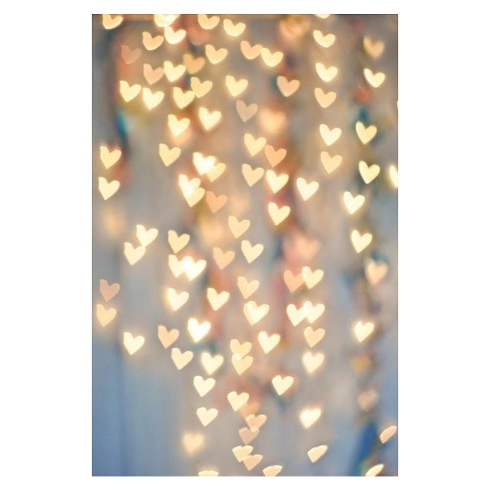 Photography Christmas Thin Backdrop Lights Hearts Photo Prop Background 5x7ft