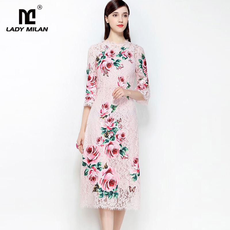 New Arrival 2018 Womens O Neck Half Sleeves Embroidery Lace Appliques High Sreet Fashion Elegant Dresses