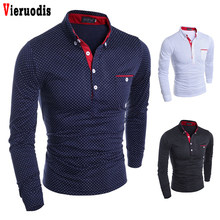 Brand New 2019 Autumn Mens Polo Male Long Sleeve Fashion Casual Slim Polka Dot Pocket Button Polos Slim Men Jerseys(China)