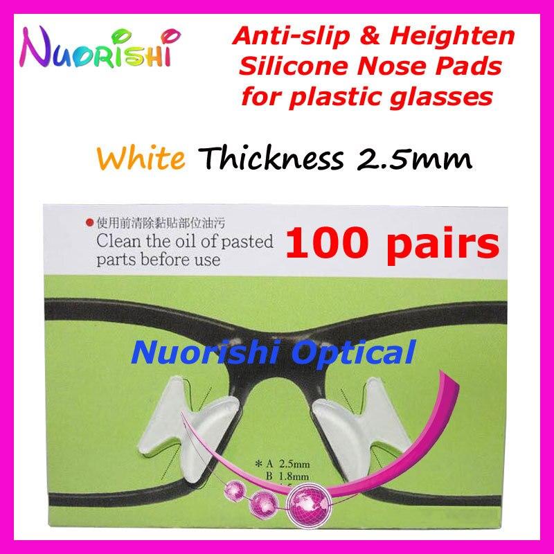 100 пар T2100 анти-скольжения силиконовые увеличивающие рост Носовые фиксирующие накладки Стикеры для ацетат Пластик очки солнцезащитные очки 1,8/2,5/2,8 мм - Цвет: Clear 25 Thickness