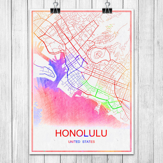 Famous Colorful World City Map HONOLULU USA Print Poster Abstract