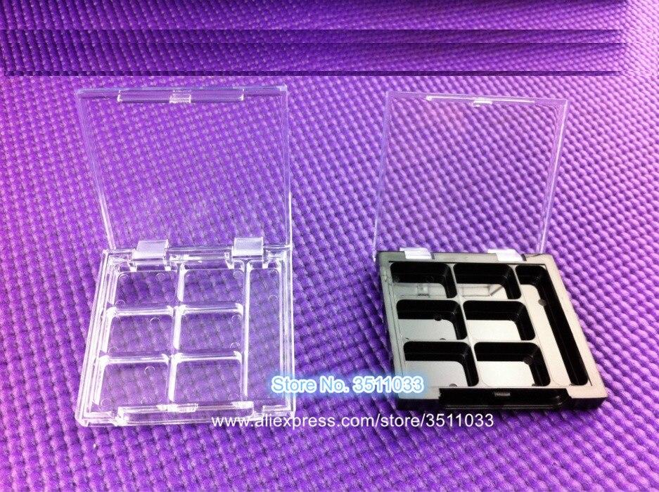 50pcs Clear 6 Grids Flip Cap Cosmetic Powder Case Empty Square Black Pigment Eye Makeup Container