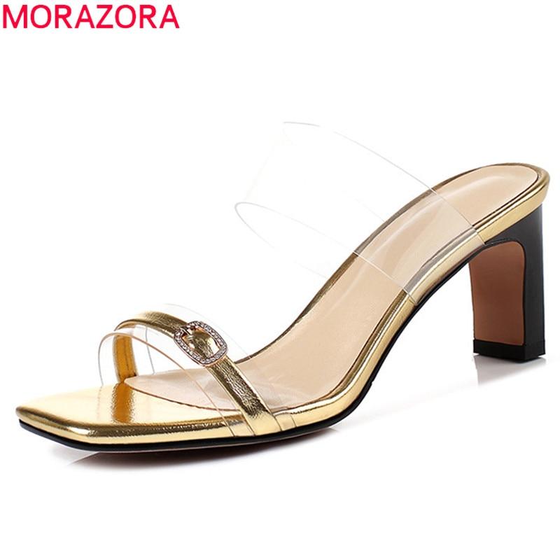 MORAZORA 2019 new arrival women sandals patent leather summer shoes buckle Transparent fashion party shoes woman