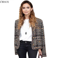 LXUNYI Autumn New Vintage Houndstooth Woolen Jackets Coats Womens Tweed Jacket Casaco Feminino Elegant Ladies Wool