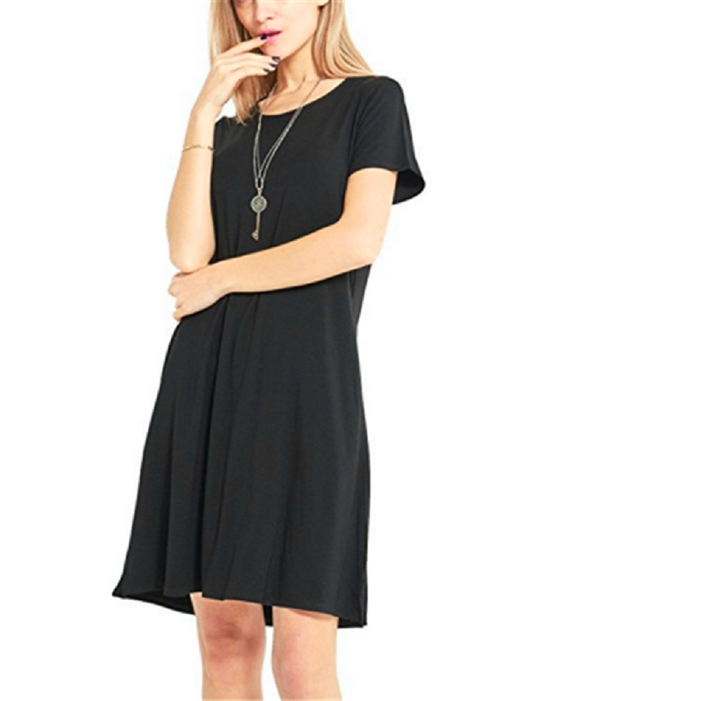 Casual Boho Beach Dresses  Womens O-Neck Party Summer Dress Short Sleeve Loose Mini Dress 6