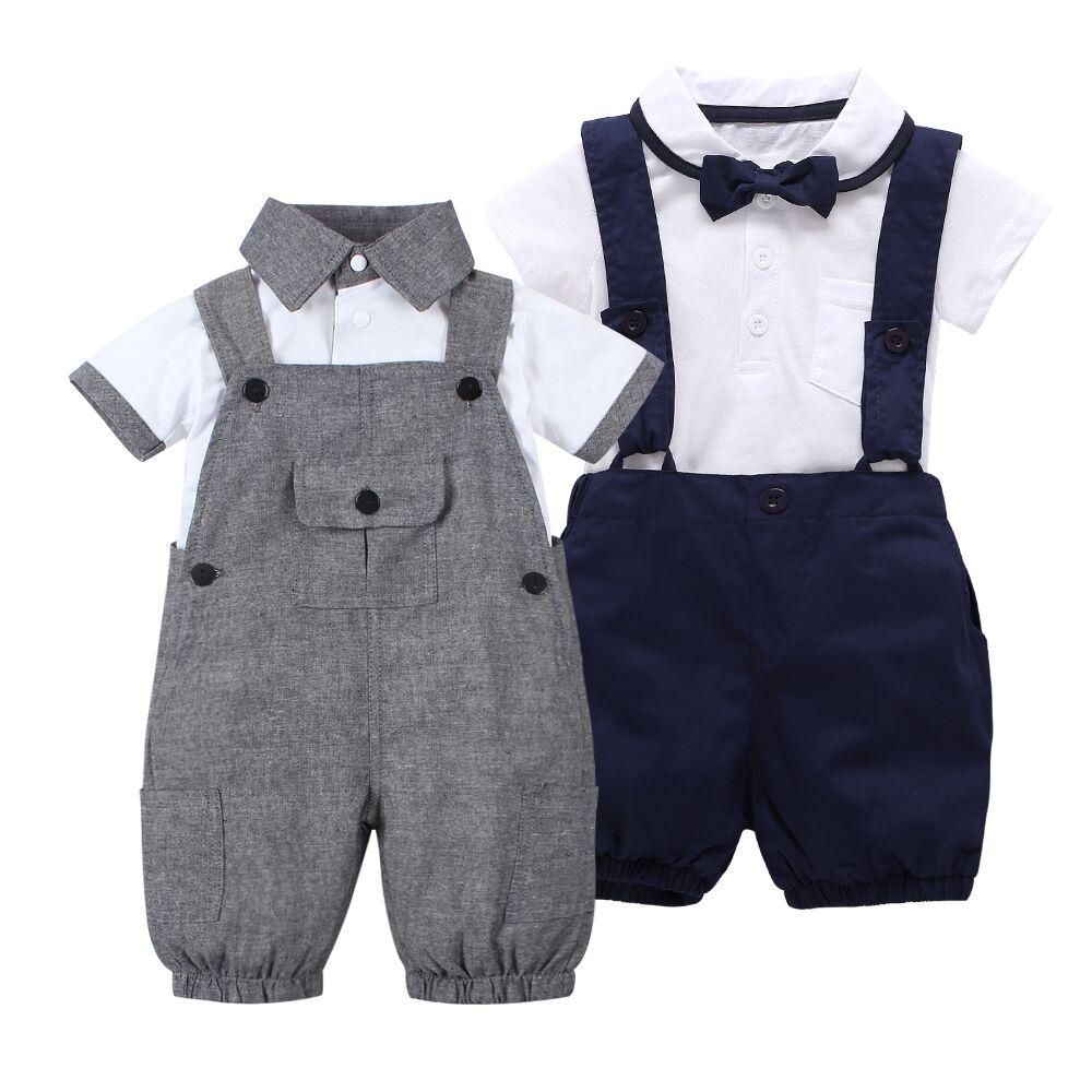 2019 Summer Style Baby Boy Clothes Set Short Sleeve T Shirt +Coveralls 2pcs Gentleman Newborn Baby Clothing Set Infant Toddler