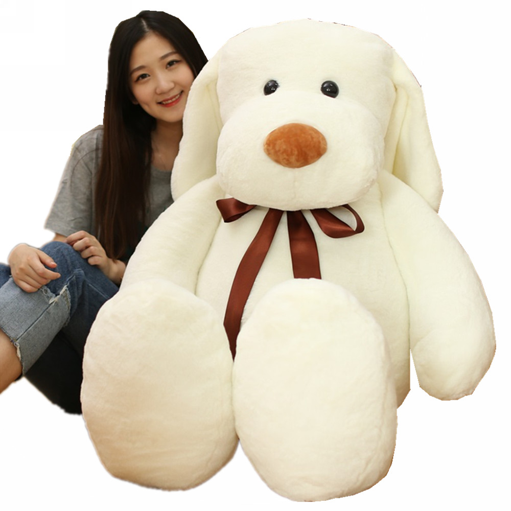Fancytrader 55'' JUMBO Giant Plush Puppy Dog Toys for Kids Big Stuffed Safe Anime Dogs Animals Doll Nice Gift 140cm 3 Colors fancytrader real pictures 35 jumbo giant stitch plush stuffed soft cute toy 90cm nice gift for kids free shipping