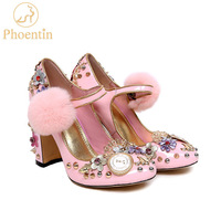 Phoentin pink mary janes crystal flower women pumps with fur genuine leather ladies party shoes clock super high heels FT333