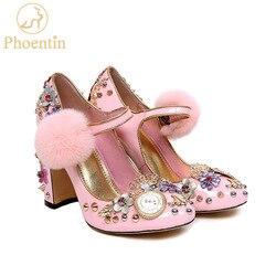 Phoentin roze mary janes kristal bloem vrouwen pompen met bont echt leer dames party schoenen klok super hoge hakken FT333