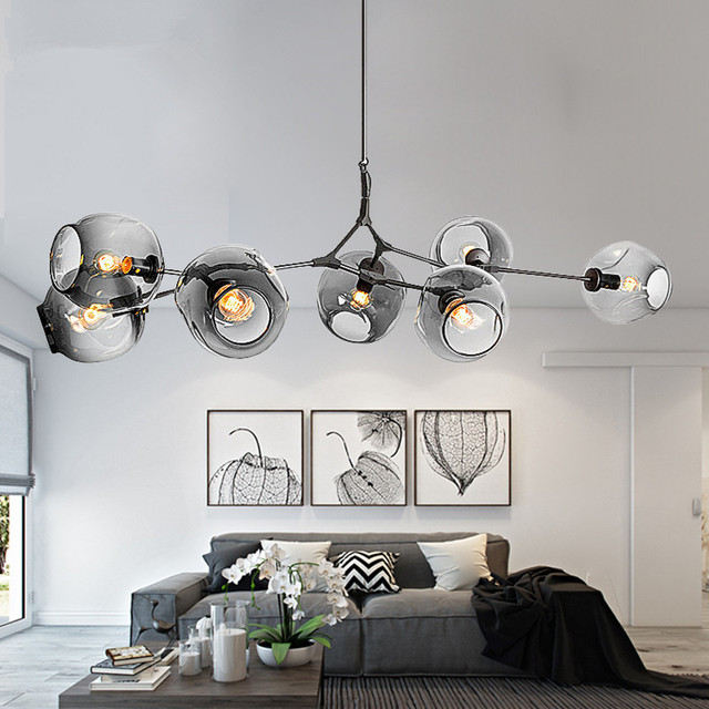 Hanging Pendant Light Living Room Contemporary With Wood Burner Modern Chandeliers Lighting Branching Bubble Ball Lamp Gold Metal Dinning