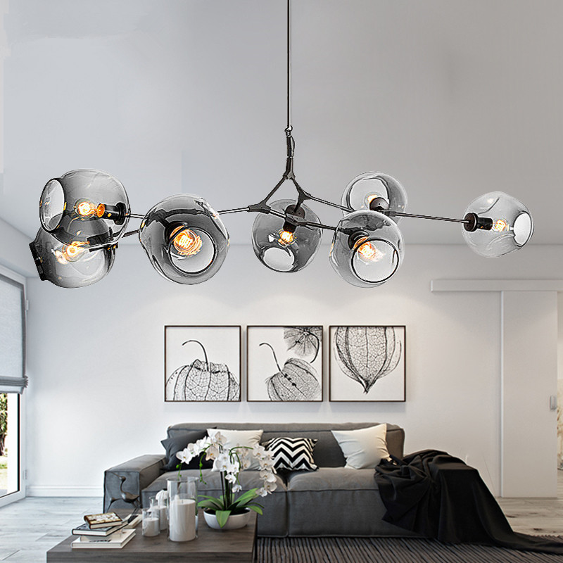 Moderne Lustres Éclairage Ramification Bulle luminaire suspendu boule Or Métal lampe suspendue Salon Salle À Manger luminaires