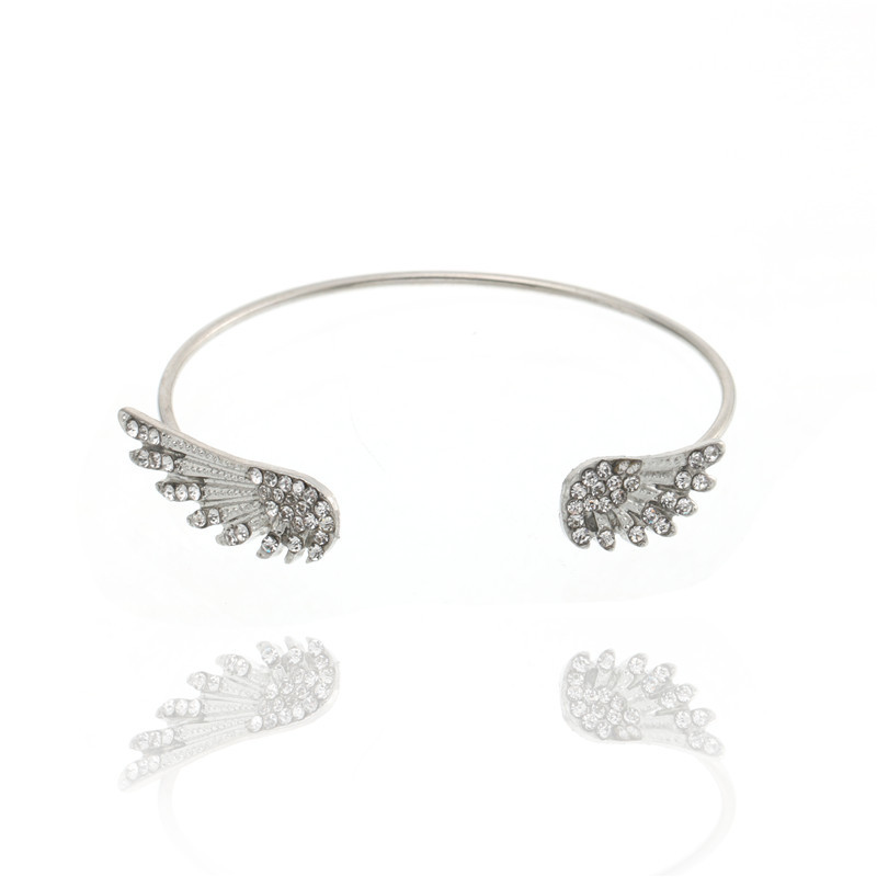 Classical Silver Wing Bracelet For Women Rhinestone Simple Open Design Bracelet Femme Can Superposition Wear Lady Favourite Gift