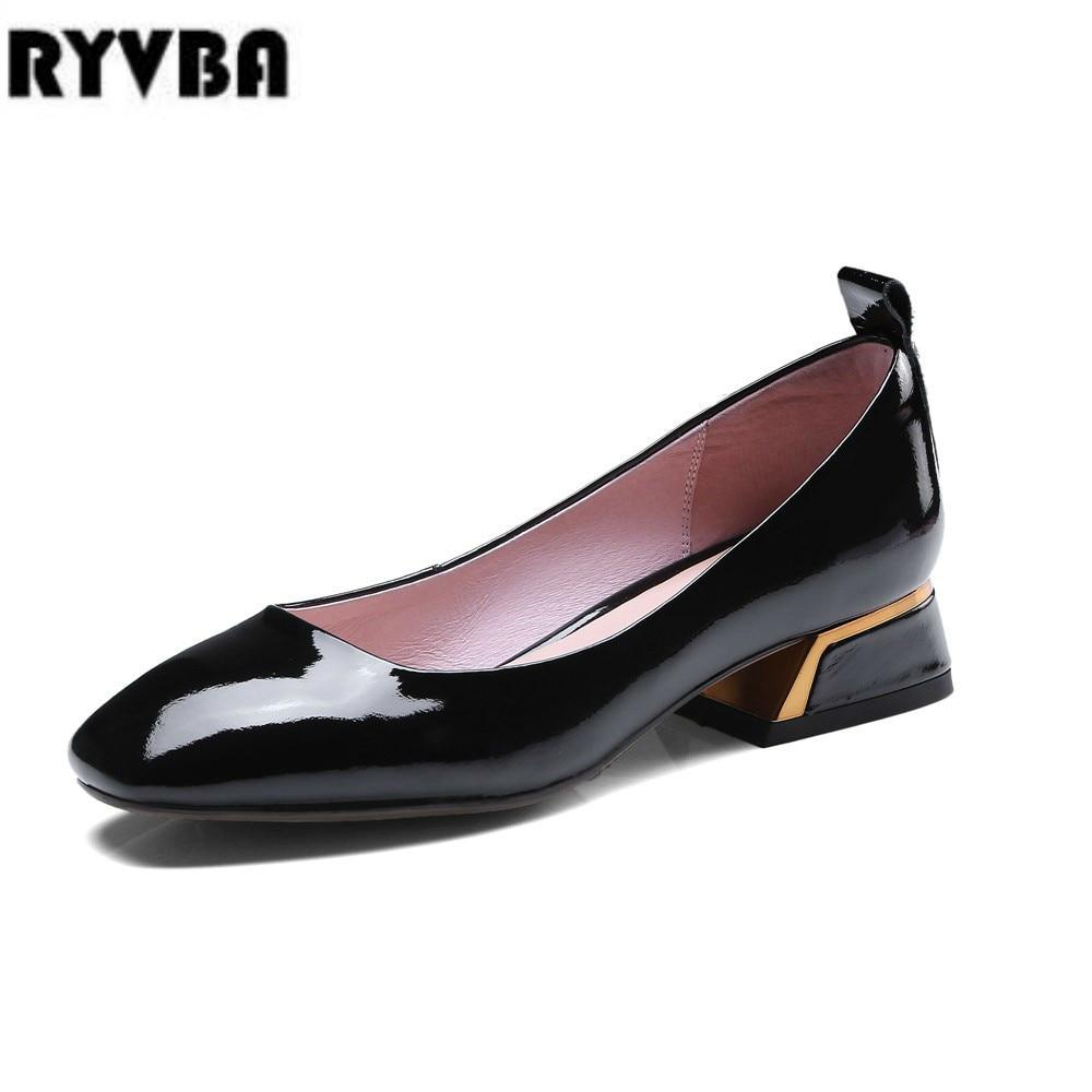 RYVBA woman mid heels pumps 2018 women patent genuine leather summer autumn ladies womens fashion rivets black causal work shoes