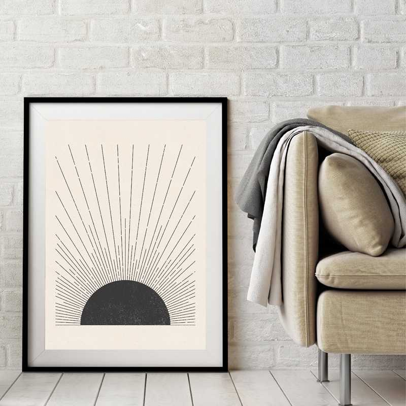 Soleil Illustration Milieu Du Siècle Moderne Bloc Imprimer