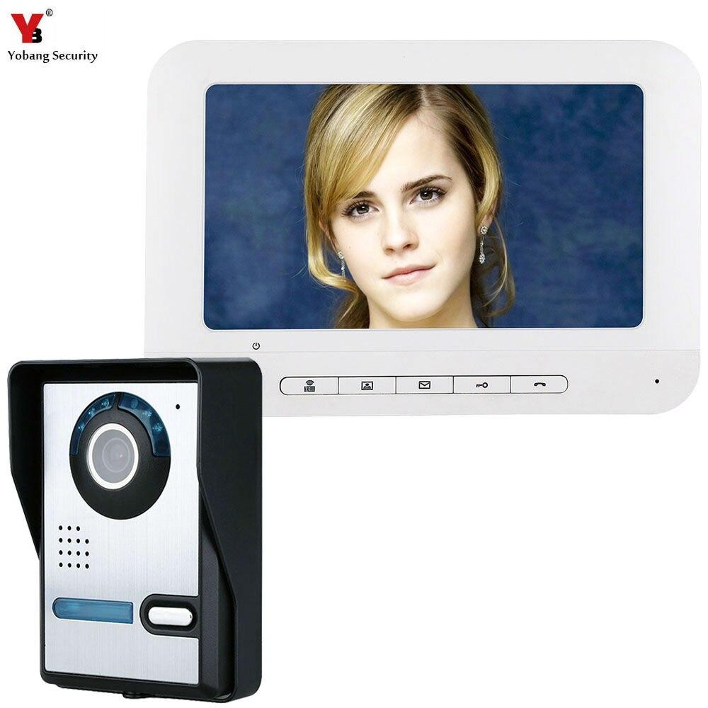 Yobang Security 7 Inch TFT Video Door Phone Doorbell Intercom Kit 1 camera 1 monitor Night