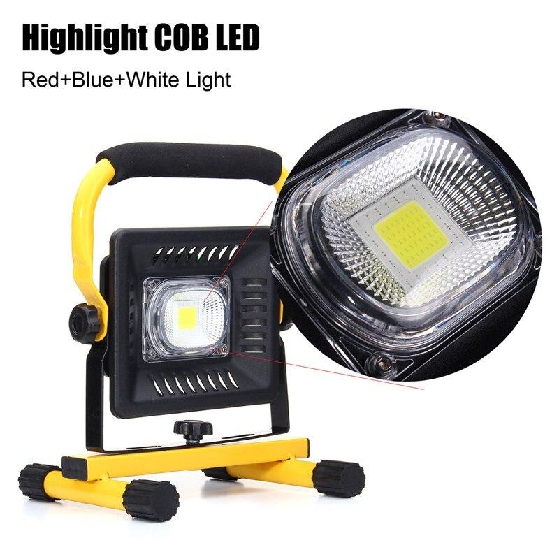 50 W 3 Cores de Luz de Trabalho Recarregável Portátil LEVOU Holofote Alimentado Por Bateria COB LEVOU Inundação Ponto de Luz Acampamento Lâmpada De Emergência