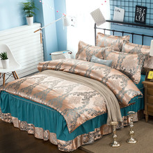 Satin satin jacquard four-piece bed skirt cover four sets  bedding set luxury full size
