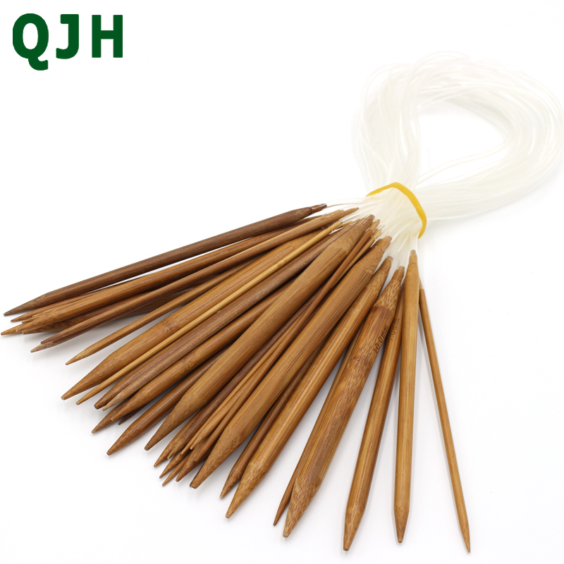 Hot Sale QJH Bamboo Ring Needle 60cm 23.6inch 18 set/36 pcs Circular Knitting Needle Crafts Yarn Tools Natural Bamboo Incense
