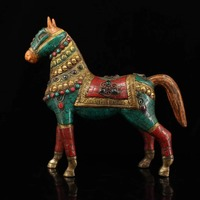 Nepal Receive Old pure copper Hand made mosaic gem Painted outline in gold horse statue