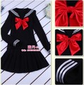 Sailor suit female sailor collar long-sleeve student school uniform class service blue navy costume set