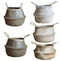 Folding Basket Grass Weaving Flower Basket Natural Craft Medium Seagrass Belly Storage Basket Laundry Picnic Plant Pot