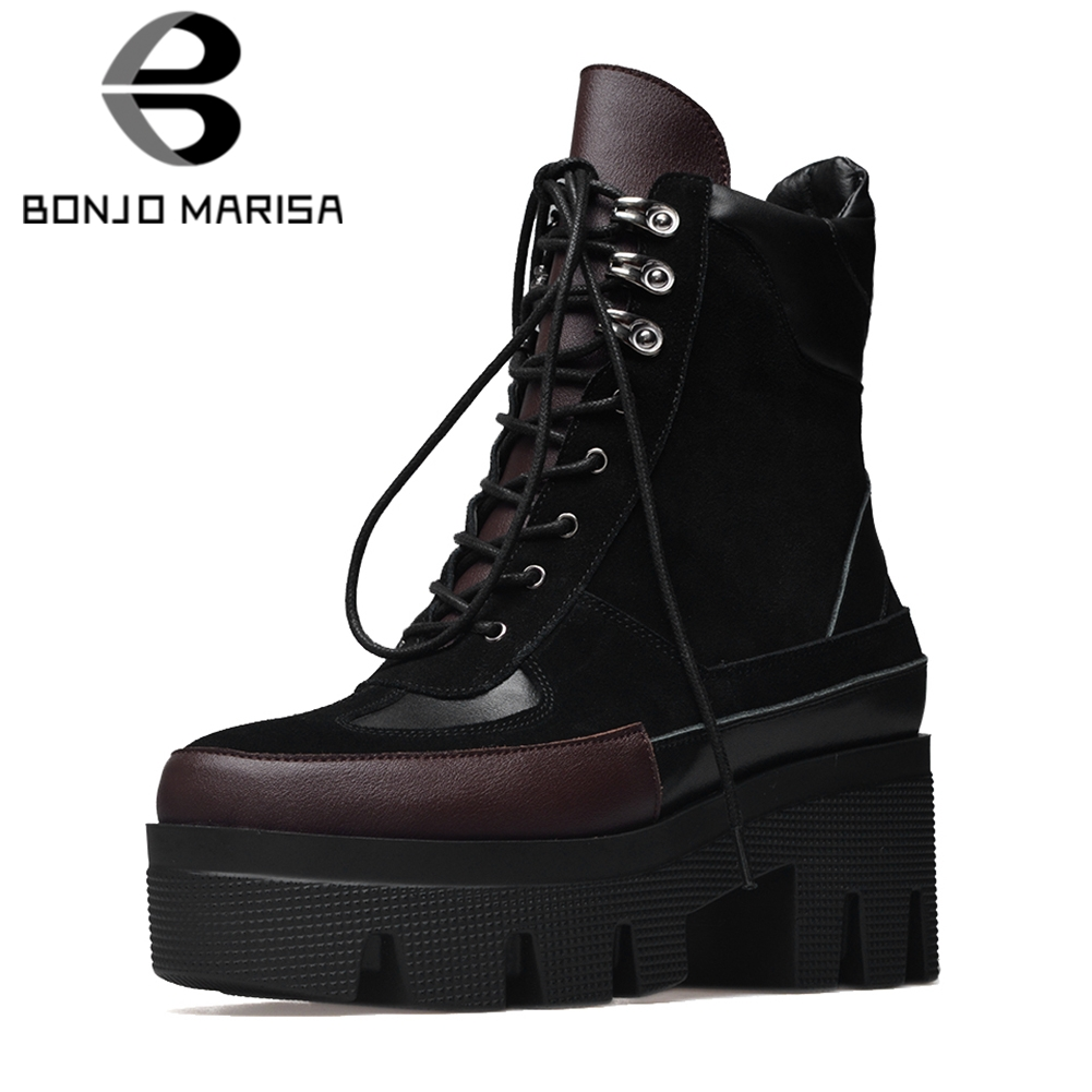 BONJOMARISA 2019 Spring New Brand Quality Genuine Leather Ankle Platform Matin Boots Women lace up High Heels Shoes Woman 34 42