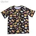 Qlychee Casual Mujeres Camiseta Divertida Hamburguesa Cola de Impresión de Dibujos Animados de Alimentos de Alimentos Mujer Tee Top Media Manga Sueltos en la T Shirt