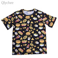 Qlychee Casual Women Funny T-shirt Cartoon Food Print Hamburger Cola Food Female Tee Top Half Sleeve Loose T Shirt