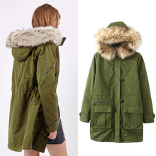 New 2016 Winter Jacket Women s Parkas Army Green Large Fur Collar Hooded Coat Woman winter