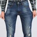 2016 SYT Nova dos homens Casual Jean Magro Regular Fit Nice Detalhes Plus Size Elásticas Jeans de Corte Perfeito S6CJ071