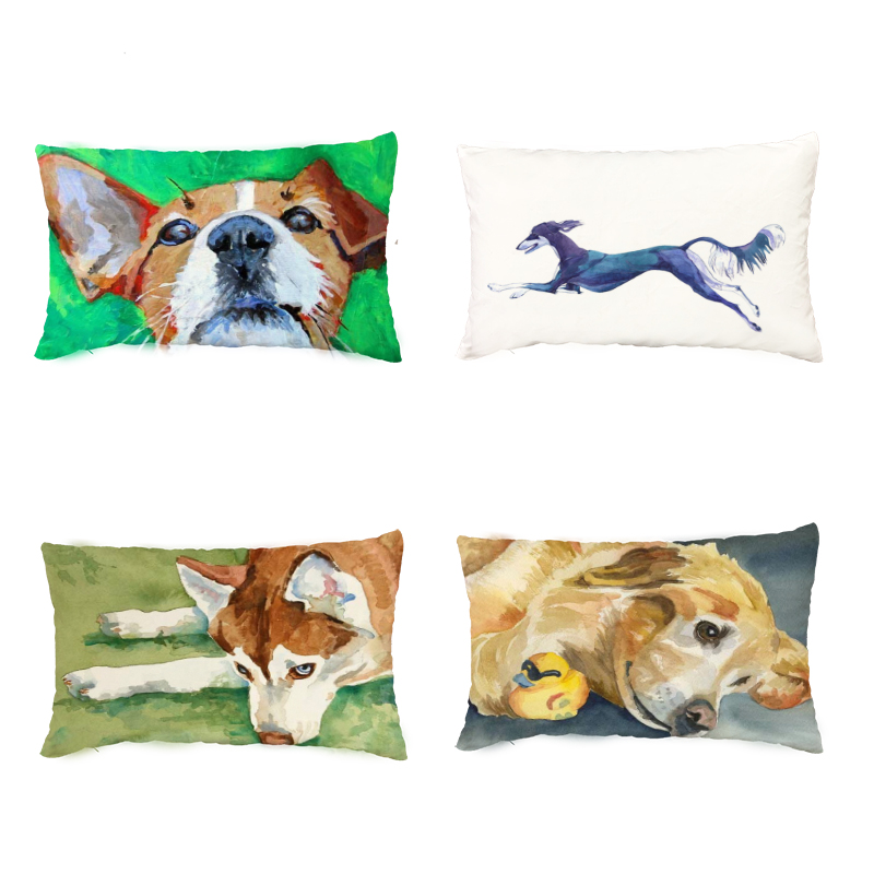 Lovely Husky Golden Retriever White Cushion Covers Home Decorative Throw Pillow Cases Greyhound Pugs Peach Skin Cute Pillowcases