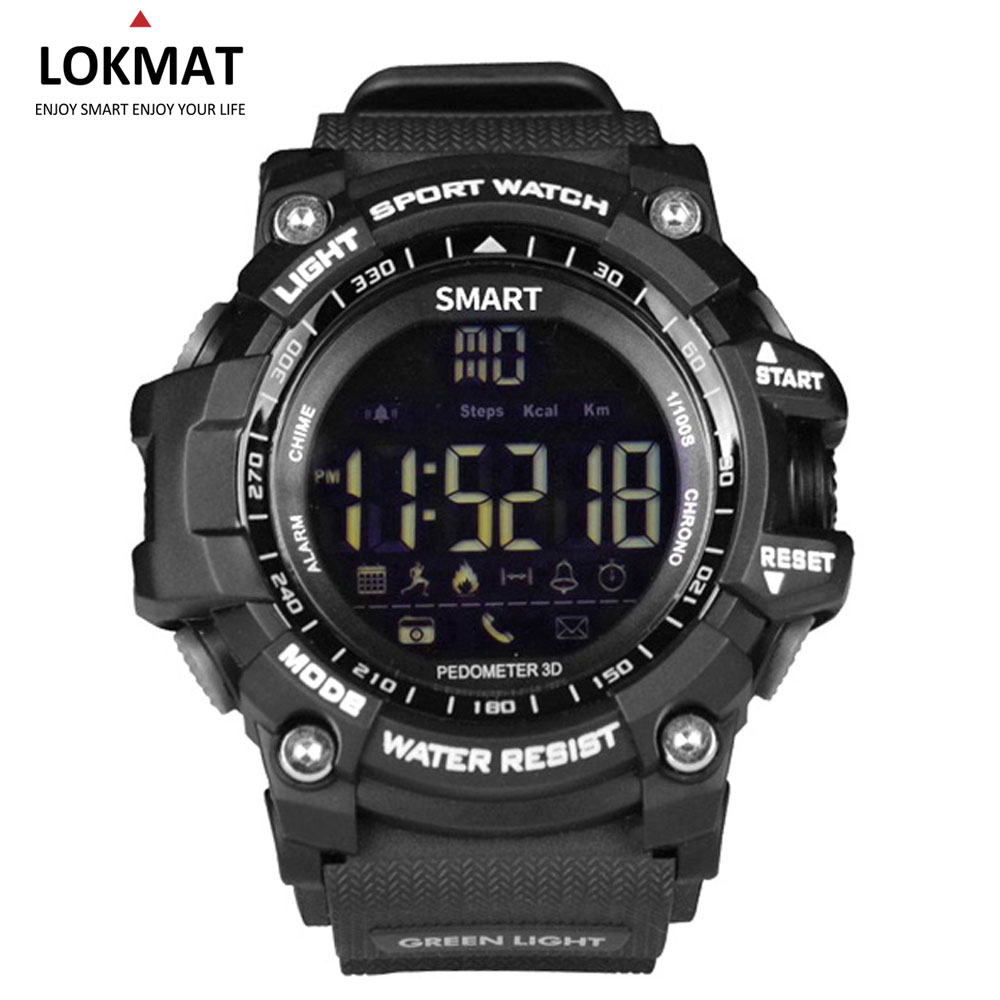 LOKMAT Bluetooth Smart watch Sport Pedometer waterproof IP67 Sport digital smartwatch Relogio Masculino For ios Android Phone