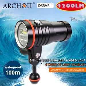 Image 1 - ARCHON D35VP II 4200lm dive fotografie licht tauchen beleuchtung lampe 18650 Li Ion teig dive lichter Video Licht + Rot + UV + Spot lampe