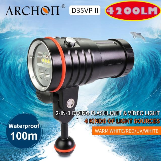ARCHON D35VP II 4200lm dive fotografie licht tauchen beleuchtung lampe 18650 Li Ion teig dive lichter Video Licht + Rot + UV + Spot lampe