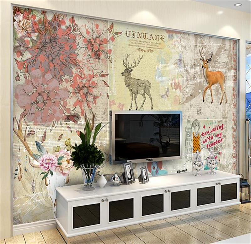 Custom 3d room mural wallpaper Non-Woven wallpaper Countryside deer photo bar living room TV backdrop bedroom photo wallpaper custom 3d room mural wallpaper non woven wallpaper senery red maple forest photo living room tv backdrop bedroom photo wallpaper