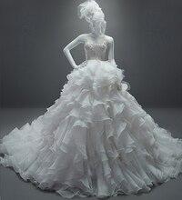 Real Sample See Through A-Line Scoop Sleeveless Beaded Chapel Train Ruffles Vintage Wedding Dress Lace 2015 MK-30