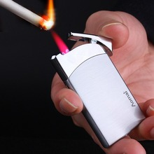Portable Ultra-thin Windproof Lighter Metal Small Cigar Lighters Red Flame Refillable Butane Gas Lighter все цены
