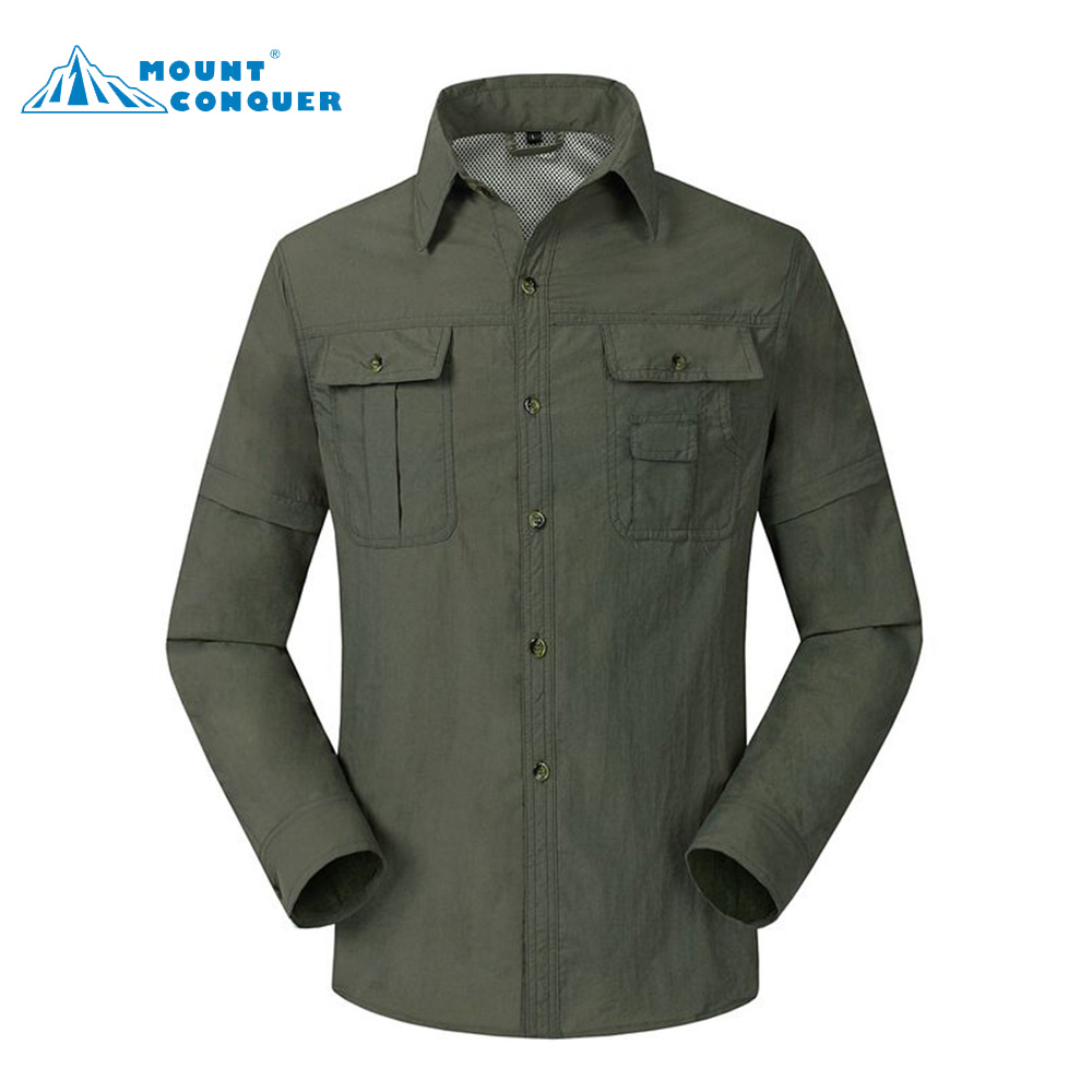 New Men Summer Quick Dry Shirts Removable Sleeve Thin Breathable Tops Outdoor Fishing Hi ...