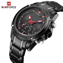bfb4f12cf57 Watches men NAVIFORCE brand Sport Full Steel Digital LED watch reloj hombre Army  Military wristwatch relogio