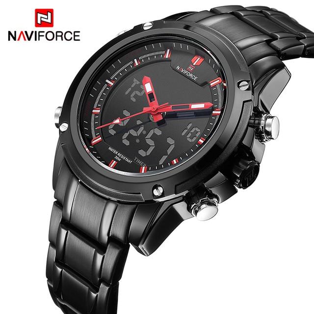 ff790de1c4f Watches men NAVIFORCE brand Sport Full Steel Digital LED watch reloj hombre  Army Military wristwatch relogio masculino 9050